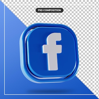 Logotipo brilhante do facebook com design 3d isolado