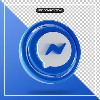 Logotipo brilhante do facebook messenger com design 3d isolado