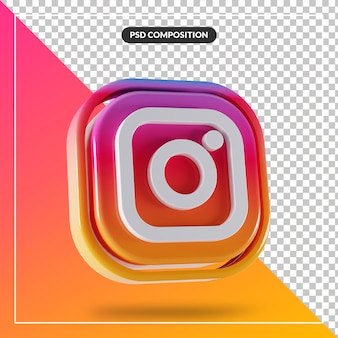 Logotipo brilhante do instagram com design 3d isolado