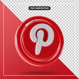 Logotipo brilhante do pinterest com design 3d isolado
