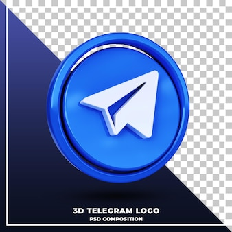 Logotipo brilhante do telegrama isolado renderização de design 3d