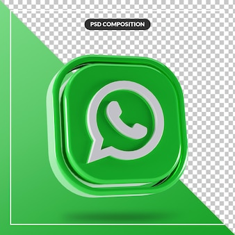 Logotipo brilhante do whatsapp com design 3d isolado