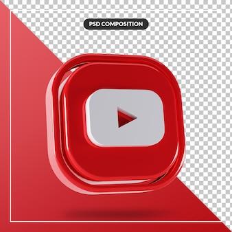 Logotipo brilhante do youtube isolado design 3d