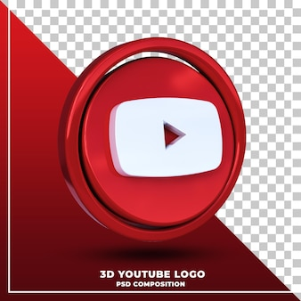 Logotipo brilhante do youtube isolado renderização de design 3d
