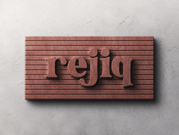 Logotipo com efeito de relevo de madeira na maquete de parede