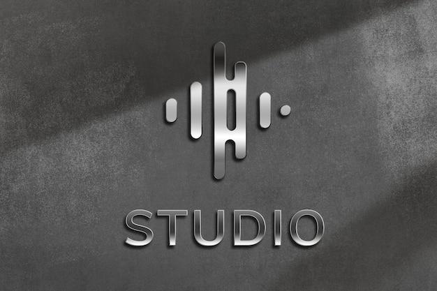 Logotipo comercial editável metálico psd em estilo em relevo