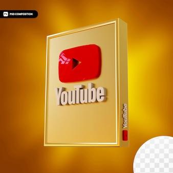 Logotipo da caixa dourada do youtube isolado design 3d