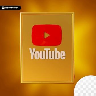 Logotipo da caixa dourada do youtube isolado design 3d Psd Premium