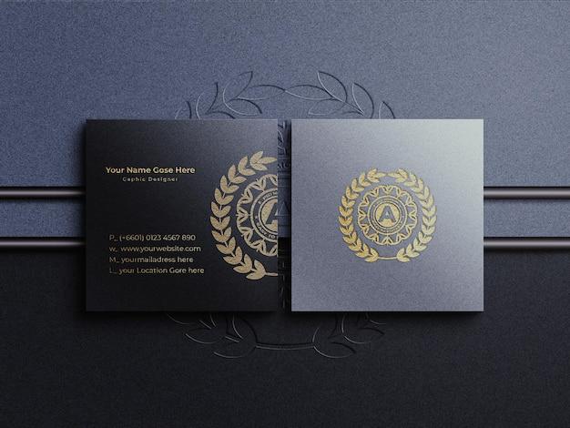 Logotipo da folha dourada com maquete de cartão de visita quadrada e sobreposição de sombra