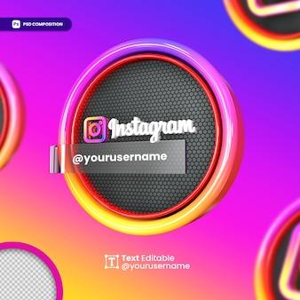 Logotipo da maquete 3d do instagram para mídia social