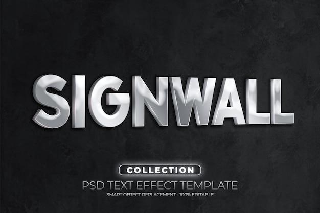 Logotipo da maquete de sinal metálico cromado na parede de concreto preta