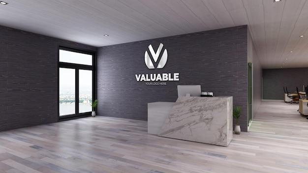 Logotipo da maquete na recepção ou na sala de recepção com parede de tijolos