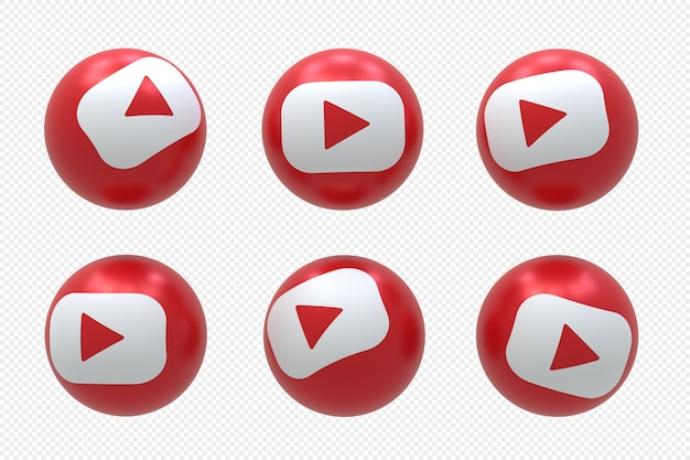 Logotipo da mídia social do youtube definido em renderização 3d