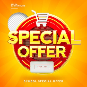 Logotipo da oferta especial 3d em círculos de néon e carrinho de compras