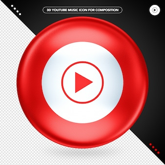 Logotipo da red ellipse 3d no youtube music