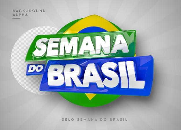 Logotipo da semana do brasil em 3d em renderização 3d