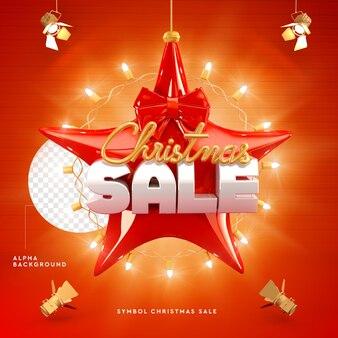 Logotipo da venda de natal 3d em forma de estrela com luzes em renderização 3d