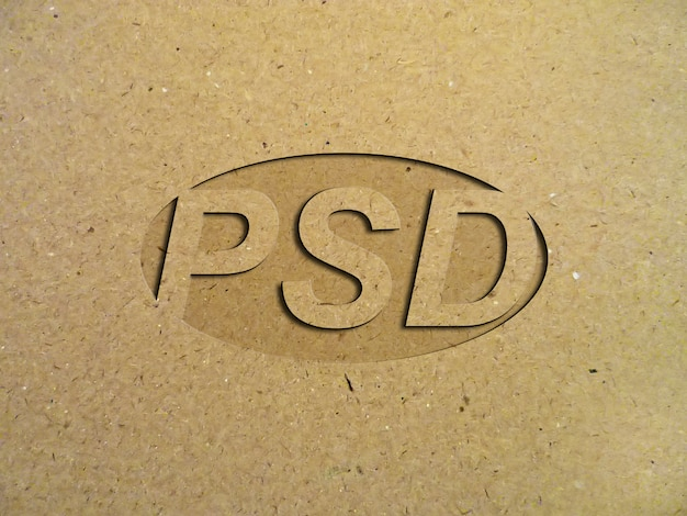 Logotipo de baixo relevo de maquete em papelão