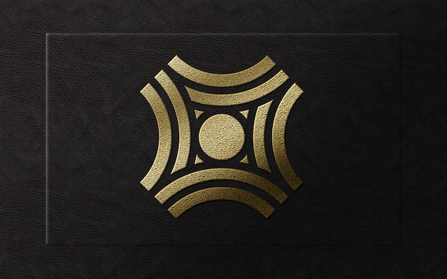 Logotipo de luxo moderno folha de ouro 3d na maquete de couro