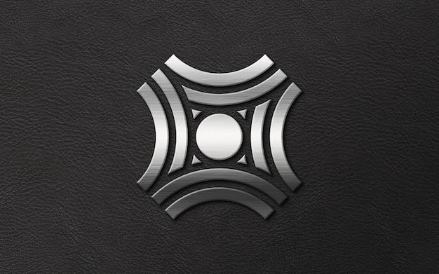 Logotipo de luxo moderno tira 3d em maquete de couro