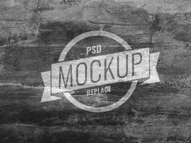 Logotipo de maquete de concreto de parede preta