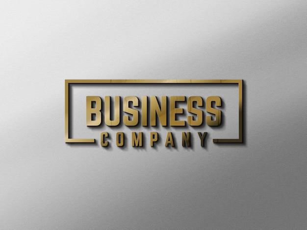 Logotipo de maquete de parede ouro 3d moderno