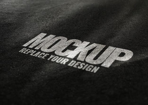 Logotipo de maquete de tecido preto