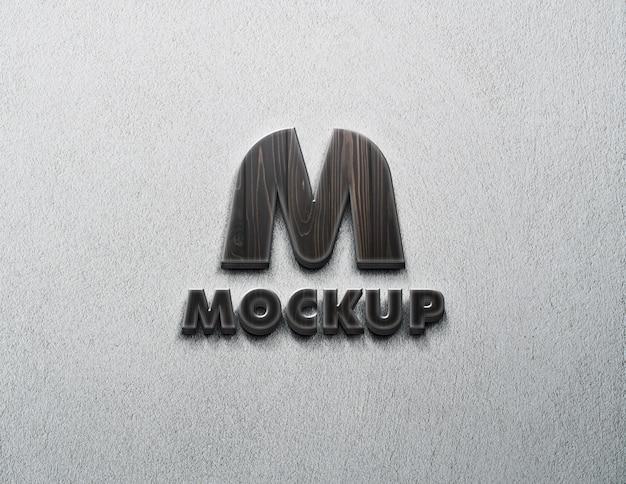 Logotipo de maquete na parede com madeira texturizada
