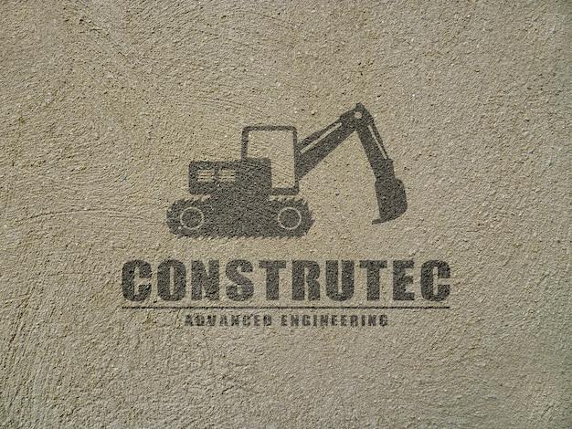 Logotipo de maquete, pintado em concreto