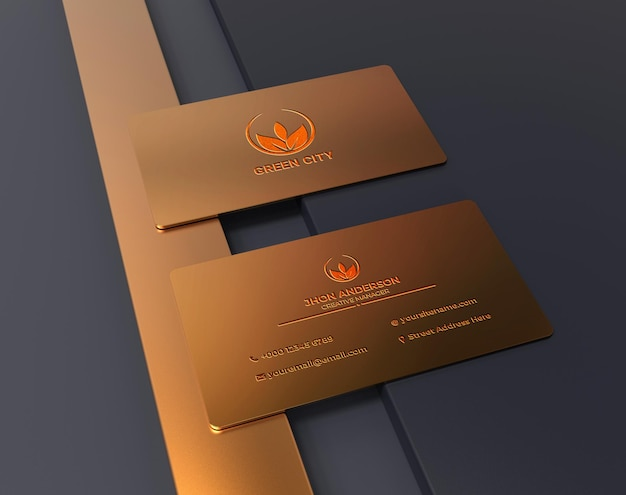 Logotipo de metal dourado luxuoso e minimalista na maquete do cartão de visita