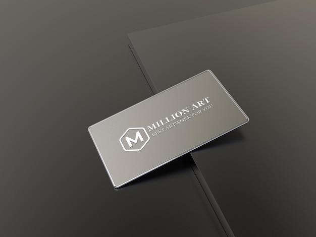 Logotipo de metal e modelo de cartão de visita