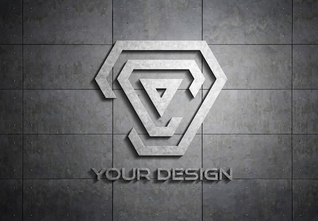 Logotipo de metal na placa de maquete de parede Psd Premium