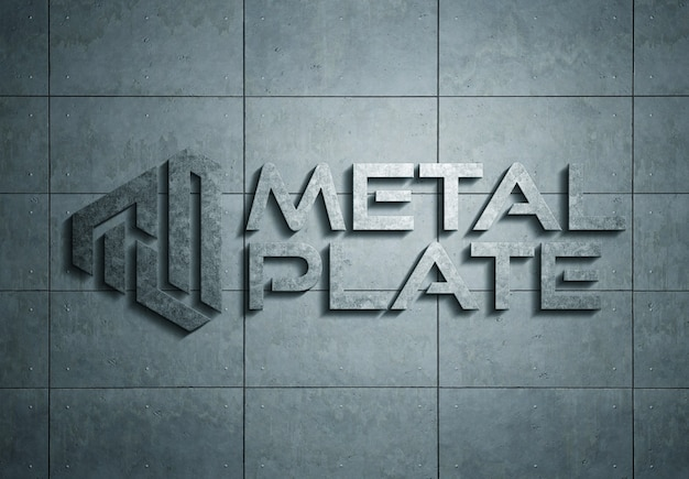 Logótipo de metal na placa de maquete