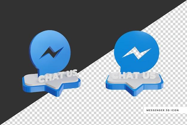 Logotipo de mídia social de chat messenger em estilo 3d