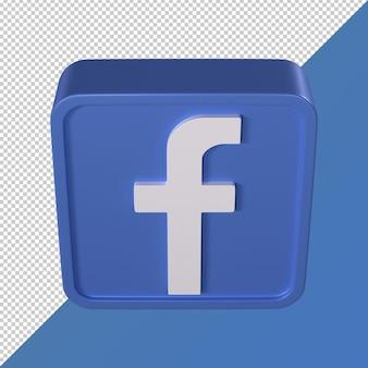 Logotipo de mídia social transparente em forma de quadrado 3d do facebook