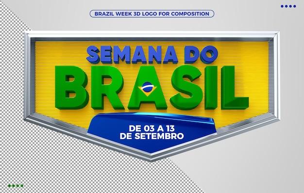 Logotipo de renderização 3d da semana do brasil com prazo de validade das ofertas