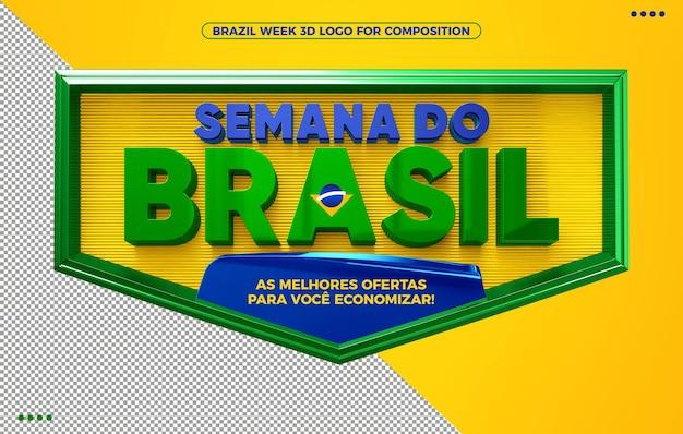 Logotipo de renderização 3d da semana do brasil para maquiagem em fundo amarelo isolado