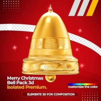 Logotipo de sino de feliz natal para composição isolada