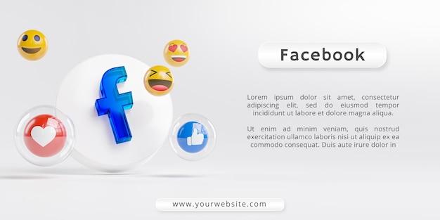 Logotipo de vidro acrílico do facebook e ícones de mídia social