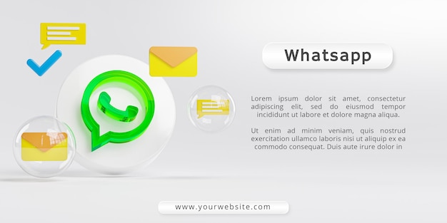 Logotipo de vidro acrílico do whatsapp e ícones de mensagens
