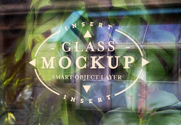 Logotipo de vidro de janela maquete