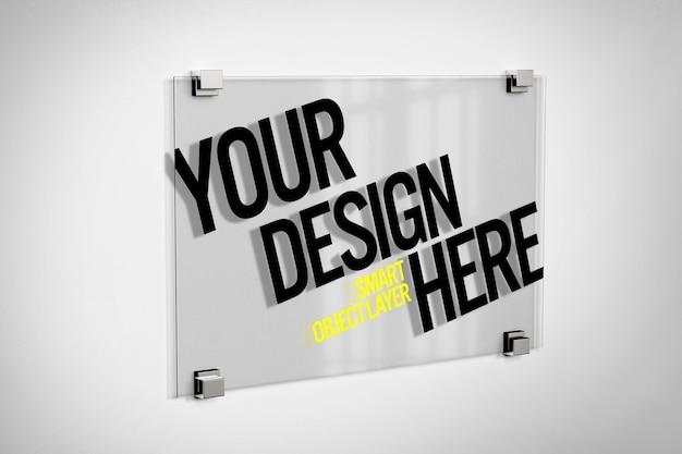 Logotipo de vidro de placa maquete