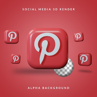Logotipo do aplicativo 3d pinterest com fundo alfa