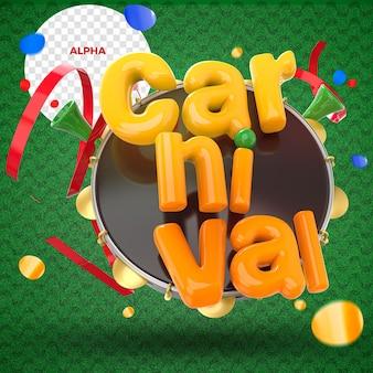 Logotipo do carnaval renderizado com pandeiro isolado para composição