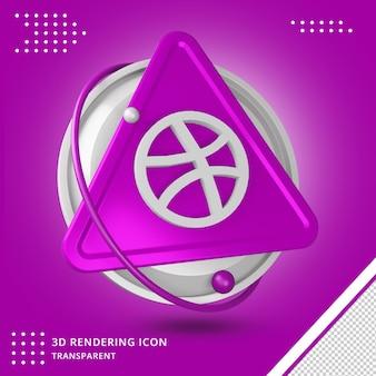 Logotipo do dribbble em renderização 3d