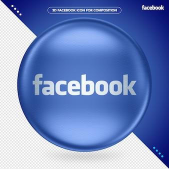 Logotipo do facebook 3d da ellipse blue