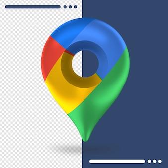 Logotipo do google maps em renderização 3d