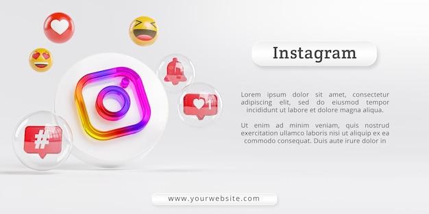 Logotipo do instagram acrílico glass e ícones de mídia social