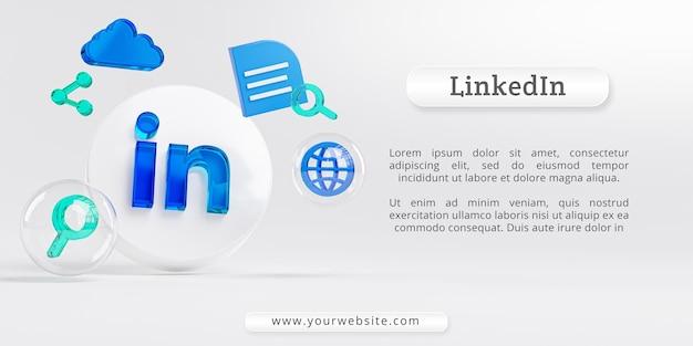 Logotipo do linkedin acrílico glass e cópia dos ícones de pesquisa