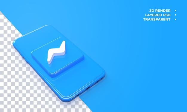 Logotipo do messenger 3d no topo da renderização do smartphone